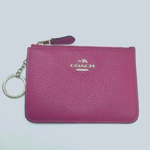 Coach Pink Leather ID Case Card Holder Keychain